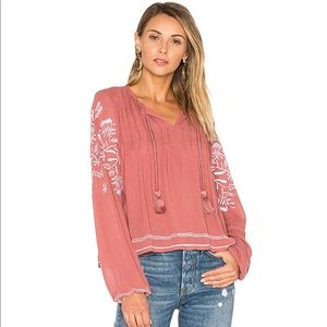NEW Tularosa Embroidered Long Sleeve Rose Top